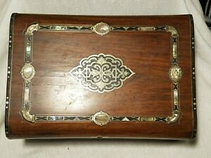 Antique 1800s Traveling Wooden Writing Lap Desk With Storage Compartments