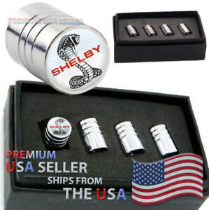 Ford Mustang Shelby Gt Logo Valve Stem Caps Chrome Tire Kit Wheels Cars Cobra Us