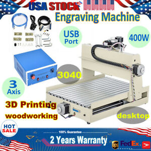 Usb 3 Axis 3040 Cnc Router Engraver Machine Wood Metal Artwork 3d Carving Cutter