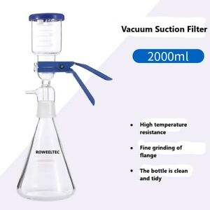 2000ml Vacuum Suction Filter Flask Device Lab Buchner Filting Apparatus 1pc
