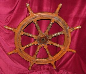 Solid Wood Iron Ship S Helm Steering Wheel Circa Early 20th Century