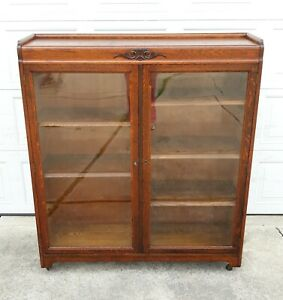 Antique Quarter Sawn Oak Bookcase Original Wavy Glass