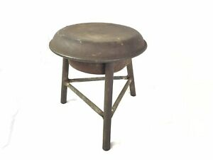 Primitive Antique Three Legged Milking Stool Crafted From Milk Can Lid
