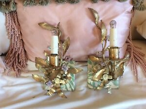 Antique Vtg Pair Porcelain Rose Sconces Pink Roses Tole Lamps Bows Ribbons