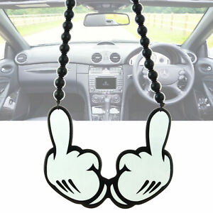 Micky Middle Finger Car Rearview Mirror Hanging Charm Dangling Pendant Ornament