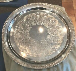 Vintage Ornate Silver Plate Round Tray International Silver Co Serving Platter
