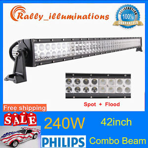 42inch 240w Led Work Light Bar Spot Flood 4wd Tractor Offroad Boat Suv Pk 40 44