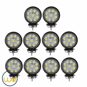 10x 12v 4inch 27w Round Led Work Lights Pod Spot Beam Offroad Fog Driving Light