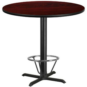 42 Round Mahogany Laminate Table Top With 33 X 33 Bar Height Table Base
