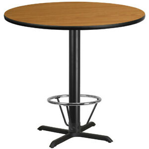 42 Round Natural Laminate Table Top With 33 X 33 Bar Height Table Base And