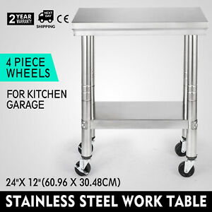 24x12 Kitchen Stainless Steel Work Table With Wheel Locking Brake Utility