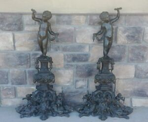 19th 20th C French Bronze Fireplace Statues 39 Tall Cherub Angels Dragons Woman