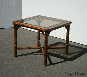 Vintage Chinese Chippendale Oak Wood Faux Bamboo Square End Table W Smokey Glass