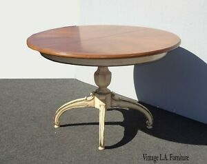 Vintage French Country Off White Pedestal Dining Table W Leaves Thomasville 1