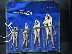 New Blue Point Locking Plier Set Blp404 W Pouch Free Shipping