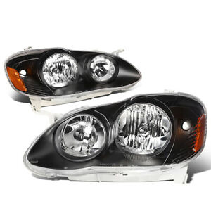 Fit 2003 2008 Toyota Corolla Pair Black Housing Amber Side Headlight lamp Set