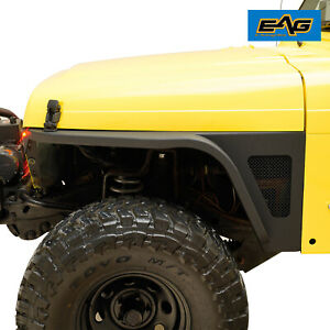 Eag Front Fender With Flare And Led Eagle Light Black Fit 97 06 Jeep Wrangler Tj