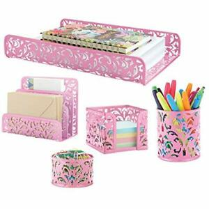 Pink Decor Office amp Home Accessories 5 piece Desk Organizer Set All Your