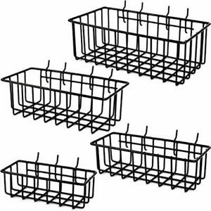 Pegboard Basket Set 4 Hooks Easily Arrange Accessories Organizer Bins Any Wire