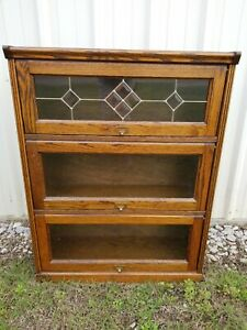 3 Section Leaded Glass Oak Wood Lawyer Cabinet Barrister Bookcase Vintage Stack