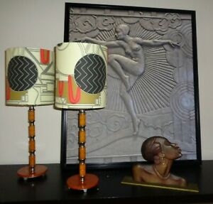 08 46 G F Clarice Cliff Pair Of Art Deco Bakelite Lamps