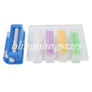 3 Sets Dental Plastic Dispenser Stick Applicator Set Bend Micro Brush Container