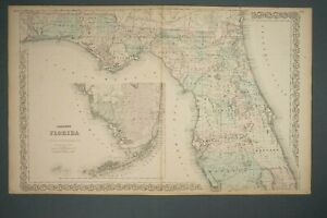 J H Colton S Map Of Florida 1868 Book Resourced Atlas 17 1 4 X 28 Inches