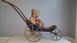 Great Antique 19th Century Victorian Doll Carriage Buggy Stenciled Wood Wheels