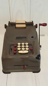 Antique Remington Rand 10 Key Mechanical Adding Machine With Ribbons And Paper