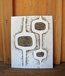 Mid Century Danish Modern Design Fire Etched Gunpowder Art Vintage Picture Retro