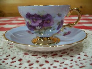 Rosina China Tea Cup And Saucer Violets Gilt On Blue Cup
