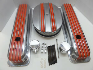 Sbc Tall Orange Fin Center Bolt Val Cover Cf Breather Smooth Combo Crx074 0