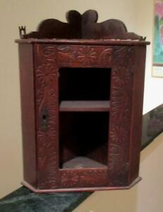 Antique Small Primitive Wooden Corner Display Cabinet