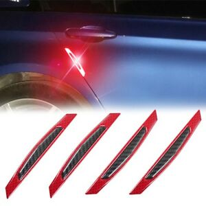 4x Red Super Reflective Carbon Fiber Car Side Door Edge Protection Decor Sticker