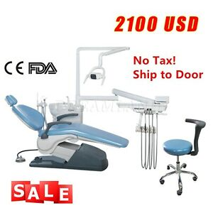 Dental Chair Computer Controlled Hard Pu Leather Assistant Stool Sky Blue Sales