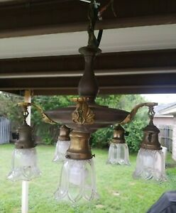 Antique Vintage Brass Chandelier Hanging Ceiling Fixture Lamp 5 Light