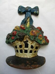 Antique Cast Iron Basket Doorstop Fruit Blue Bow Nice Old Paint