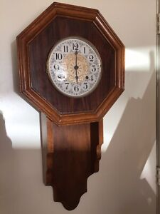 Vintage Ansonia Clock Japan Regulator Wall Clock Wood Case Not Working For Parts