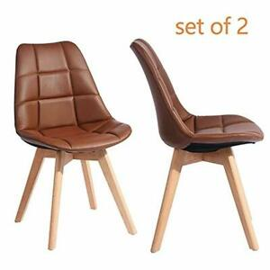 Greenforest Side Chairs Set Of 2 Mid Century Modern Pu Leather Living Dining Ro