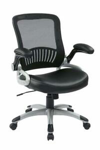 Office Star Breathable Screen Back And Bonded Leather Seat Managers Chair With F