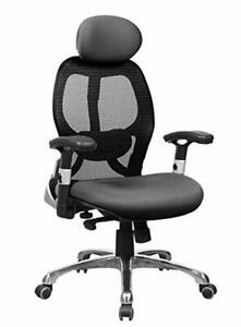 Office Factor High Back Executive Office Chair Ergonomic Black Mesh Managers Ch