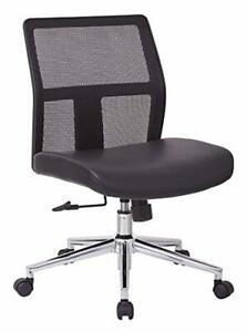 Office Star Mesh Back And Bonded Leather Seat Aluminum Accent Armless Mid Back