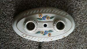 Vintage Porcelier Porcelain Ceramic Double Ceiling Light Fixture Pull Chain