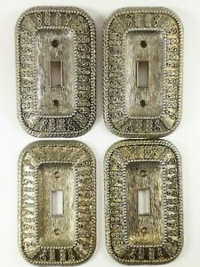 American Tack And Hdwe Co 4 Switch Plates 1968 Ornate Goldtone