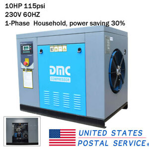 Hpdmc 10hp Air Compressor Rotary Screw 139cfm 115psi Single Phase Household