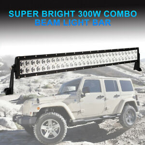 30inch 300w Lens Led Work Light Bar Spot Flood Dual Row Offroad Car Driving Lamp