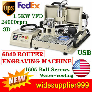 Usb Cnc 6040 Router 4 Axis Engraver Engraving Machine 1 5kw Vfd Water cooling Us