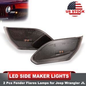 2 Pcs Led Side Maker Lights Amber Front Fender Flares Lamps For Jeep Wrangler Jl