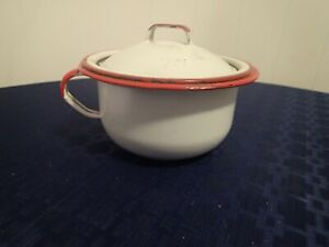 Vintage Childs Chamber Pot Red White Enamelware Handle Enamel With Lid
