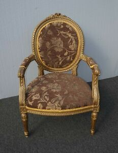 Antique French Provincial Louis Xvi Rococo Gold Mauve Accent Bergere Chair As Is